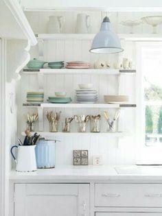 Pared back pastel kitchen