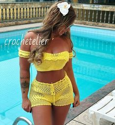 Diy Crochet Bikini, Crochet Lingerie, Crochet Top Outfit, Crochet Shorts, Crochet Clothes, Knit Crochet, Crochet Two Piece, Mode Du Bikini, Crochet Skirt Pattern
