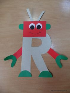 R for robot Letter R Activities, Preschool Letter Crafts, Alphabet Letter Crafts, Abc Crafts, Preschool Learning Activities, Daycare Crafts, Letter Art, Teaching Abcs, Letter Tracing