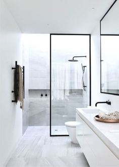 From marble flooring to ceiling shower heads, discover the top 50 best modern shower design ideas. Take a walk into luxury interior inspiration. Bad Inspiration, Bathroom Inspiration, Modern Shower, Modern Bathroom, Bathroom Black, Bathroom Small, Master Bathroom, Peach Bathroom, Silver Bathroom
