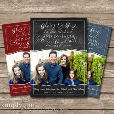 Christmas Chalkboard Photo Card |  Glory to God in the Highest | Religious Photo Card |5x7 Flat Card | Printable Digital File DIY Card on Etsy, $12.00