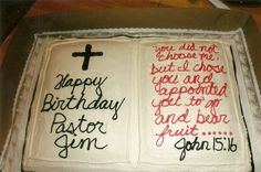 Bible b'day cake for Pastor Bible Cake, Specialty Cakes, Cake Ideas, Bread, Desserts, Food, Bible, Pastor, Tailgate Desserts