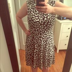 LOFT Leopard Print Dress sz. L Cute leopard print knee-length dress from Loft. Size Large. Perfect Condition. Only worn once! LOFT Dresses Mini