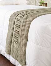 Diamonds & Cables Bed Runner. Nice idea.