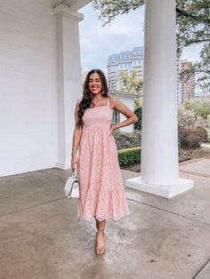 Holiday Dresses, Spring Dresses, Spring Outfits, Pink Midi Dress, Lace Dress, Modest Outfits, Classy Outfits, Sophisticated Outfits, Chambray Dress