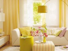 Bright Yellow Wallpaper Decoration For Living Room With Curtains Interior Home Decor