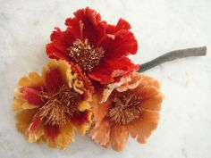 Vintage 1940's millinery flowers Shades of Orange + Yellow and Straw centers