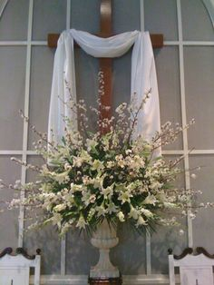 Easter Sunday: Flowers, lilies and flowering branches.  Add more greenery so lilies stand out.