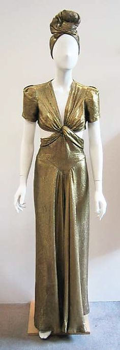 Gold lamé ensemble (evening gown and matching turban) by Jay-Thorpe, Inc., American, ca. 1945.