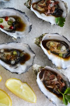 What's better than oysters for a treat? Oysters made four different ways: lemon, Chinese style, Kilpatrick and Thai dressing. Seafood Dishes, Fish And Seafood, Seafood Recipes, Cooking Recipes, Clams Seafood, Shellfish Recipes, Cooking Fish, Tapas, Raw Oysters