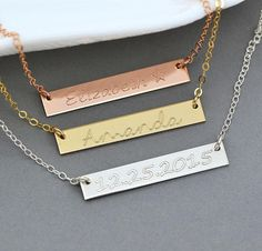 Personalized Bar Necklace, Engraved Bar Necklace, Initial Necklace in Silver, Gold Fill, Rose Gold Fill, Custom Name Plate, 5x35