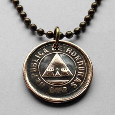 1912 Honduras 2 centavos coin pendant escudo Hondureño pyramid necklace Lempira lenca masonic eye Maya Central American Hondo River n001388 by coinedJEWELRY on Etsy