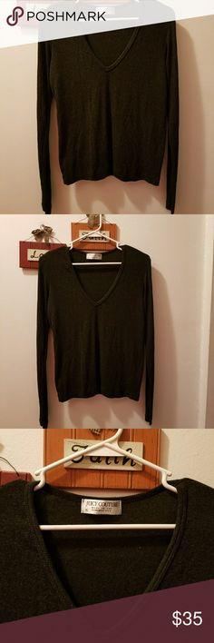 JUICY COUTURE Dark Grey V Neck Sweater LG JUICY COUTURE Dark Grey V Neck Sweater Large fits more like Medium. Juicy Couture Sweaters V-Necks