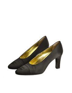 Chanel Vintage Black Satin CC Logo Heels - from Amarcord Vintage Fashion
