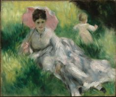 Pierre-Auguste Renior, Woman with a Parasol and Small Child on a Sunlit Hillside, about 1874–76.