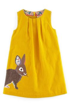 Bright Yellow Mini Boden Animal Appliqué Corduroy Dress (Toddler Girls, Little Girls & Big Girls) available at Nordstrom Fashion Kids, Little Girl Fashion, Toddler Fashion, Fall Fashion, Fashion Trends, Toddler Girl Dresses, Toddler Outfits, Kids Outfits, Stylish Outfits