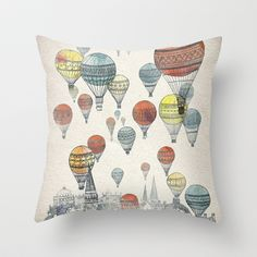 Voyages over Edinburgh Throw Pillow by David Fleck