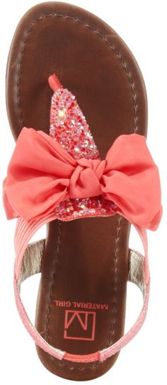 Material Girl Swan Flat Thong Sandals in Pink (Coral)