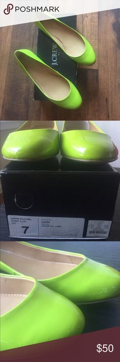 J.Crew Harper gold heel patent flats size 7 Worn once but light marks as seen in third photo.                                                       Material :Patent Leather Heel Height :Low (3/4 in. to 1 1/2 in.) J. Crew Shoes Flats & Loafers
