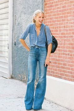 Denim on denim and a great bag.  Add a big smile-- you're ready to go!