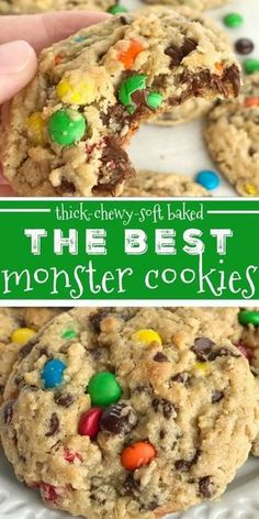 The Best Monster Cookies Monster Cookies Cookies The best monster cookies are loaded with peanut butter oats chocolate chips and mms They are thick chewy and a softbak. Chocolate Cookie Recipes, Easy Cookie Recipes, Sweet Recipes, Baking Recipes, Chocolate Chips, Chocolate Chip M&m Cookies, Brownie Cookies, Dog Recipes, Biscotti Brownie