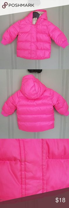 J. Crew Baby Puffer Jacket Polyester, hooded, fleece lined. Ribbed cuffs, machine washable. Tag is partially detached and there is slight darkening around the cuffs and at the bottom of the zipper - see photos 3 and 4. Otherwise excellent condition. J. Crew Jackets & Coats Puffers
