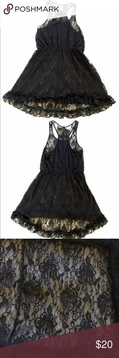 Black lace nighty In like new condition black lace sleepwear hi-low . 100% nylon nightgown / sleep wear cover up , racerback style Material Girl Intimates & Sleepwear Pajamas