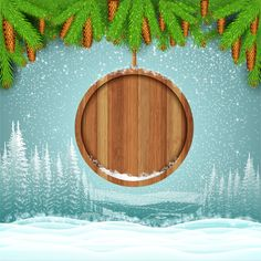 Wood barrel with christmas background design vector 10