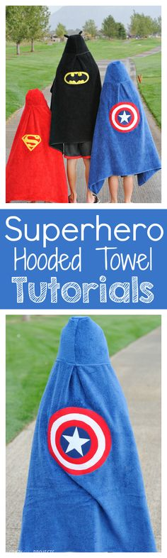 Sewing For Kids Superhero Hooded Towel Patterns - Visit to grab an amazing super hero shirt now on sale! - Make this cute superhero hooded towel with this pattern and tutorial-Batman, Captain America and Superman! Sewing Basics, Sewing Hacks, Sewing Tutorials, Sewing Ideas, Basic Sewing, Sewing Crafts, Diy Crafts, Sewing Classes For Beginners, Sewing Projects For Beginners