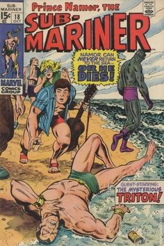 Sub-Mariner 18 cover. Reminds me of an Archie comics beach scene invaded by Marvel superheroes. Marvel Comics, Marvel Comic Books, Marvel Characters, Marvel Heroes, Comic Books Art, Comic Art, Archie Comics, Marvel Masterworks, Sub Mariner
