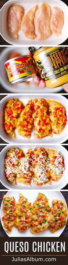Queso Chicken Bake Try a healthier version of this with low fat cheese and queso