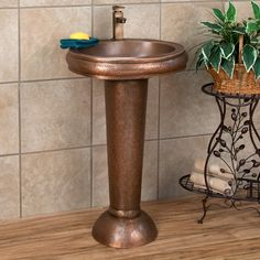 Oval Copper Pedestal Sink Hammered Exterior/Smooth Basin Single Hole Faucet  Hole | EBay