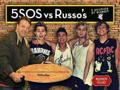 Russo's Restaurants has challenged 5 Seconds of Summer to the 28 Inch Pizza Challenge while they're in Houston. #5SOSvsRussos #5SOSvsFOOD Chef Anthony Russo with Luke Hemmings, Ashton Irwin, Calum Hood, and Michael Clifford.