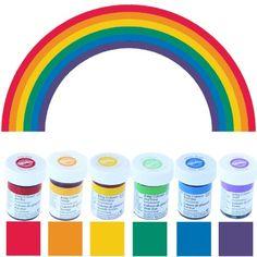 wilton icing colour gel paste rainbow colours set 6 x pots - Colorant Wilton Gel