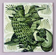 William De Morgan tile - birds and chick | Flickr - Photo Sharing!