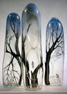 Sokolniki. Glass art by Lyubov Savelieva