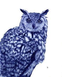 Owl by Sarah Esteje (awesome Ballpoint Pen Illustration) Biro Art, Ballpoint Pen Art, Owl Illustration, Design Illustrations, Owl Art, Wildlife Art, Cool Artwork, Pet Portraits, Pen Drawings