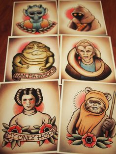 Star Wars Traditional Tattoo Flash Set 2 by ParlorTattooPrints, $35.00