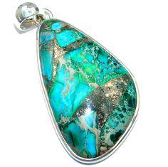 $43.25 Blue+Sea+Sediment+Jasper+Sterling+Silver+handmade+Pendant at www.SilverRushStyle.com #pendant #handmade #jewelry #silver #jasper