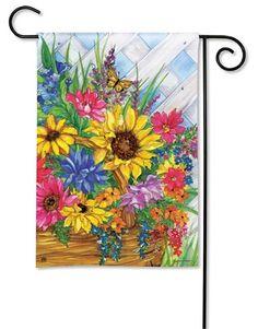 Magnet Works Blooming Basket Garden Flag for sale online Outdoor Pots, Outdoor Garden Decor, Garden Decor Items, Flags For Sale, Mini Flags, Yard Flags, Flag Decor, Garden Trees, House Flags