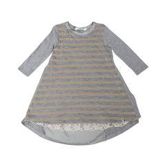 Lù:Lù udsalg børnetøj Elegant kjole i grå og guld lurex tilbud børnetøj