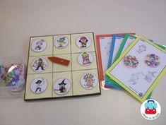 Lottospel: als het gedraaide figuurtje op hun lottokaart staat, mogen ze het verstoppen onder de confetti