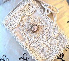 Vintage tatted shoulder purse with antique brooch