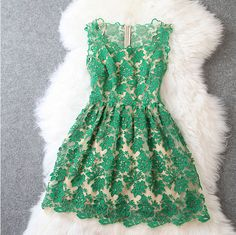 Nice Unique Soluble Flower Embroidered Dress FB112601JL