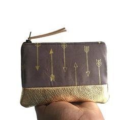 Arrows Gold Metallic Grey Leather Pouch Gold by 144Collection