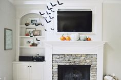 built in shelving and fire place                                                                                                                                                                                 More