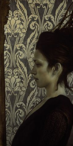 Brad Kunkle Feathers & Mirror, 30 x 15 inches, Oil and silver on linen, Private collection