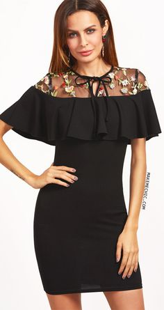 Black Tied Embroidered Mesh Yoke Ruffle Bodycon Dress