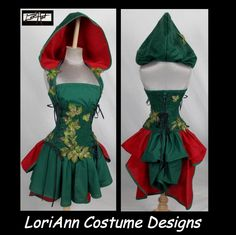 Poison Ivy Style Steampunk - Top, Add-a-Hood, Corset, Mini Skirt, Add-a-Bustle Costume  - by LoriAnn - Custom Size by loriann37 on Etsy https://www.etsy.com/listing/214342414/poison-ivy-style-steampunk-top-add-a