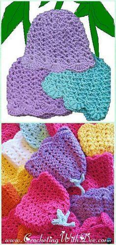 Ganchillo flor del tulipán Beanie (Prematuros Cap) Patrón gratuito -Crochet Beanie Hat Patrones gratis